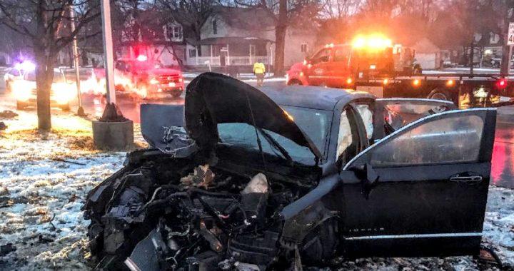 Trouble on the 'trunk' line: M-15 crash wrecks car, tree