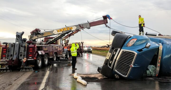 Close call: Winds flip semitrailer, tip over silo