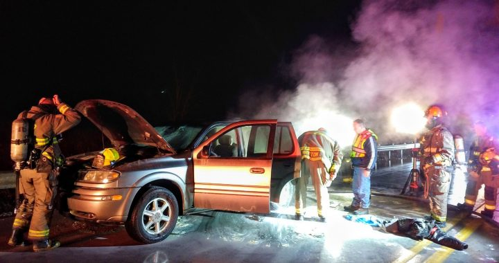 Car fire doused on M-24 bridge over Cass River