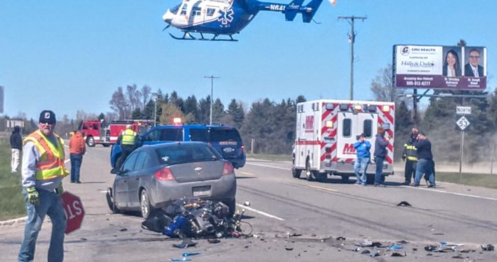 Helicopter transports Bad Axe motorcyclist hurt in M-53 crash