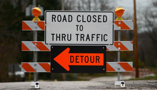 Road closed due to bridge issues